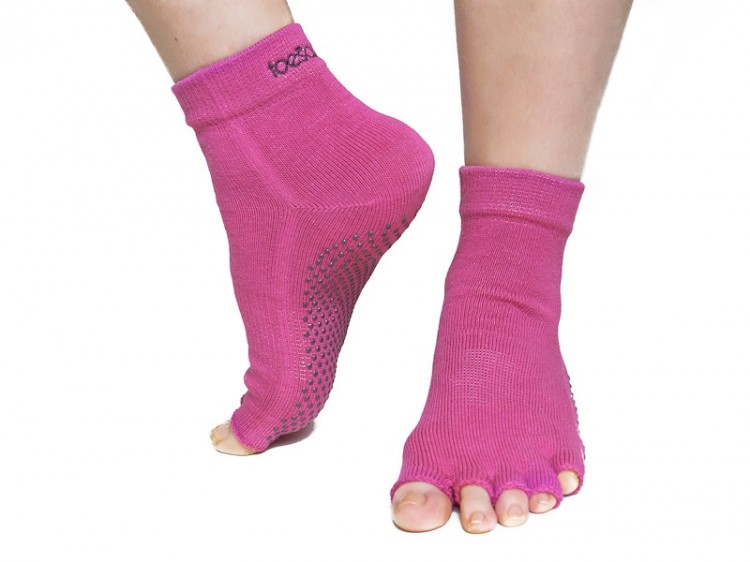 Dámské růžové bezprsté ponožky na jógu