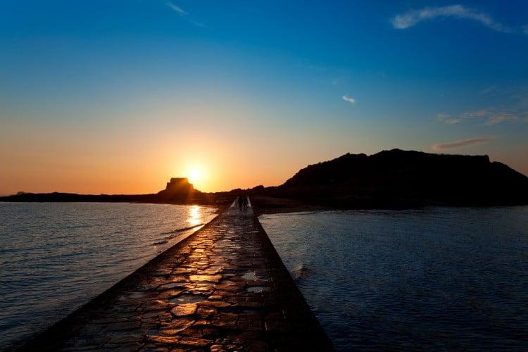 západ slunce focený z mola