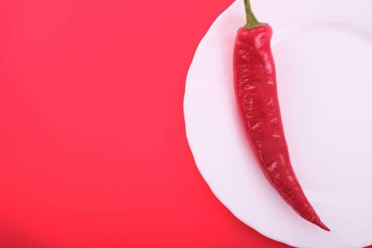 Bílý talíř s jednou čili papričkou na červeném pozadí