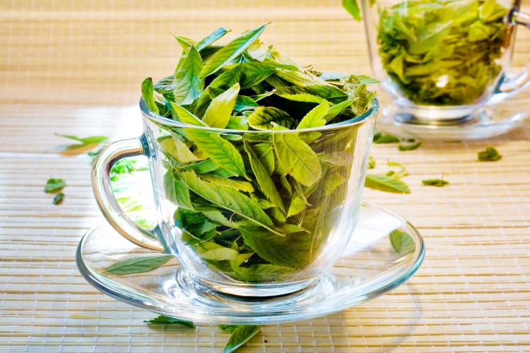 Průhledné čajové šálky naplněné zeleným sypaným čajem