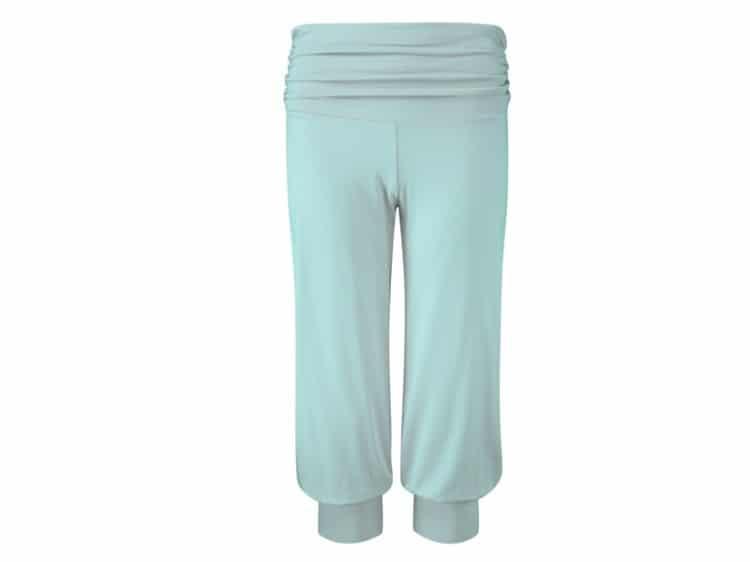 Modré tříčtvrteční kalhoty na jógu