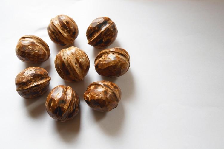 Mandala vytvořená z vlašských ořechů