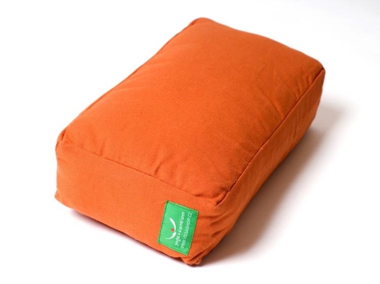 Oranžový polštář na jógu z přírodní bavlny