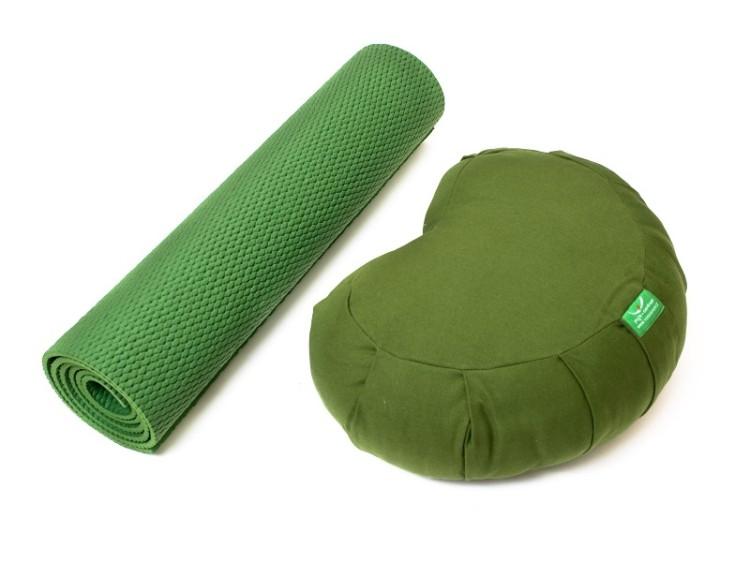 Zelená sada na jógu obsahující polštář a podložku