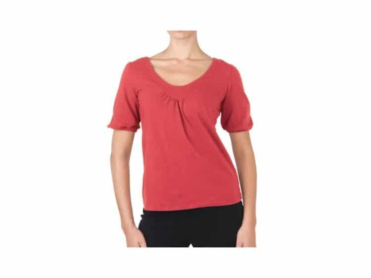 Červené triko na jógu s polodlouhými rukávy