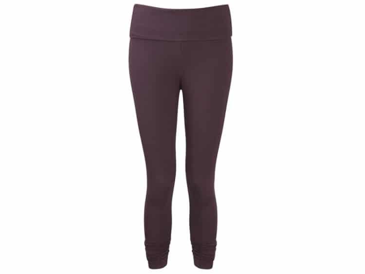 Tmavě fialové osminkové kalhoty na jógu