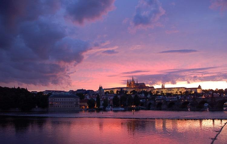 Západ slunce v hlavním městě Praha