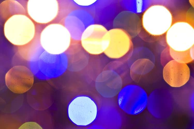Bokeh fotografie vánočních světýlek