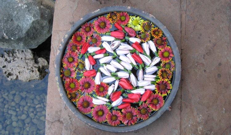 Zdobná relaxační mísa s květinami