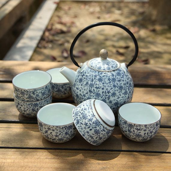 Modrá japonská čajová souprava