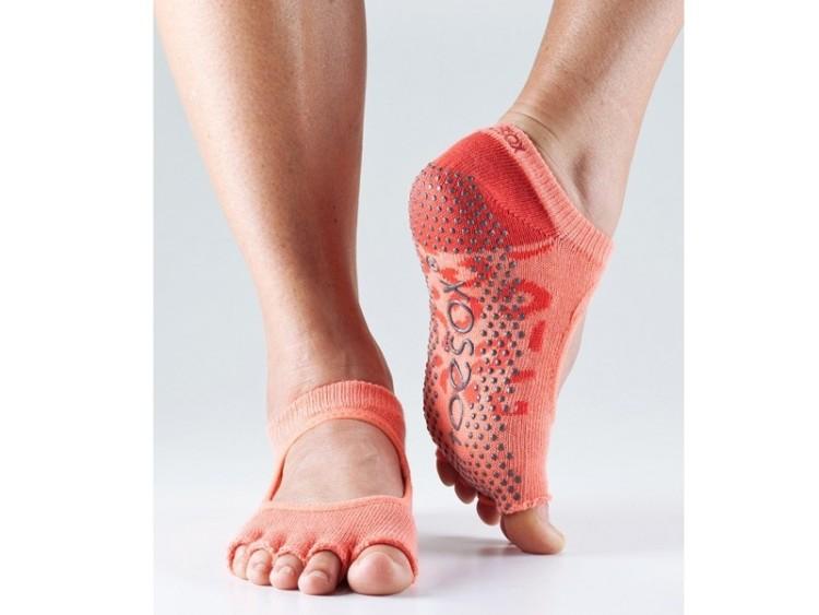 Oranžové ponožky na jógu bez prstů
