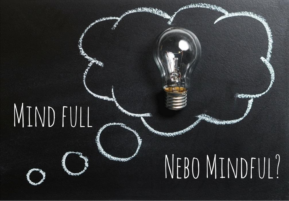 žárovka v myšlenkové bublině, mind full nebo mindful