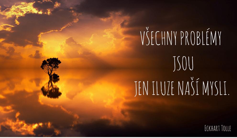 západ slunce, moře, strom,citát
