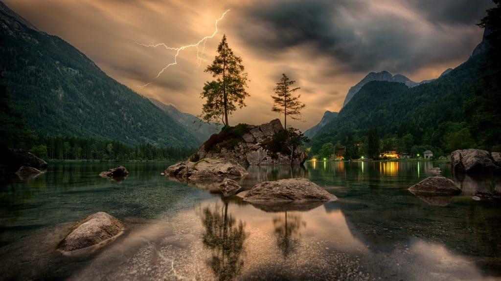 příroda, bouře, jezero