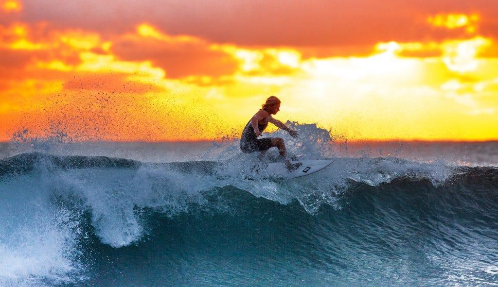 surf, západ slunce, vlna