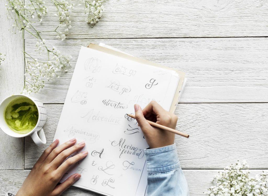 diář, matcha, ruce, psát, papír