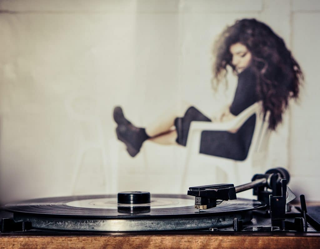 gramofon, hudba, žena